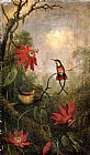 Martin Johnson Heade Passion Flowers and Hummingbirds 2 painting